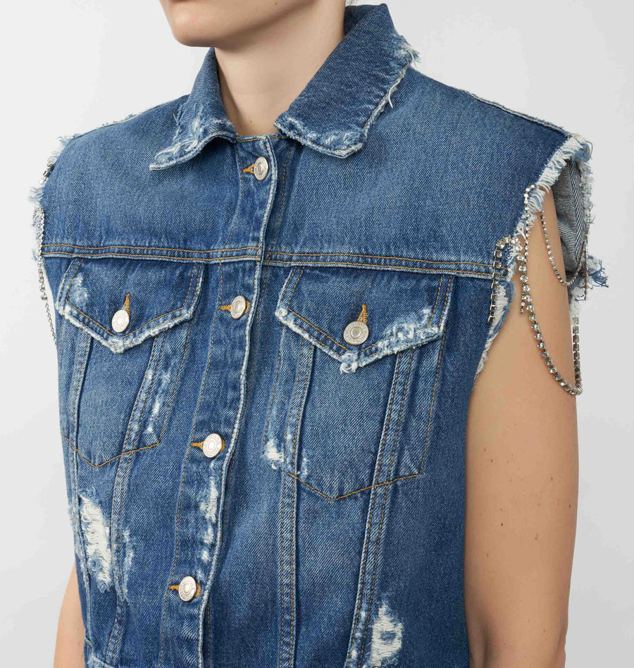SLEEVELESS DESTROYED DENIM JACKET