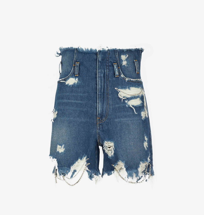 DESTROYED DENIM BERMUDA