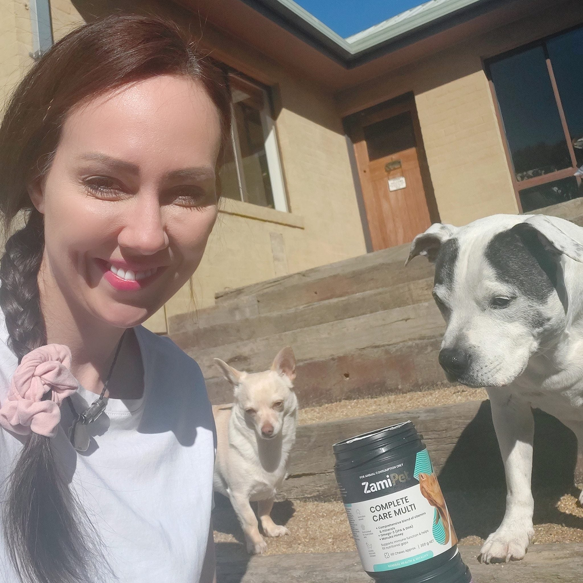 Laura V Animal Behaviourist with pet dogs and ZamiPet Complete Care Multi dog supplement