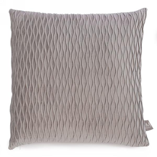 Grey wave embossed velvet pillow