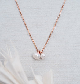 Double pearl friendship rose gold Glee necklace