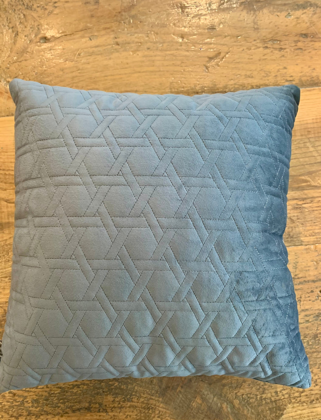 Grey velvet quilted pillow