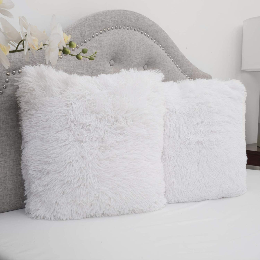 Super soft white fur pillow