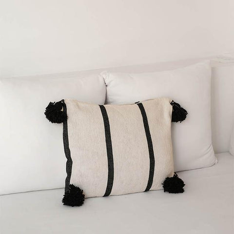 Cotton Moroccan Pillow with black tassels