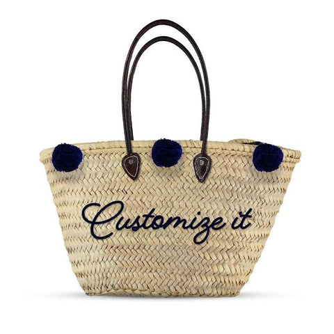 Monogrammed Straw Bag with Pompoms - Leather