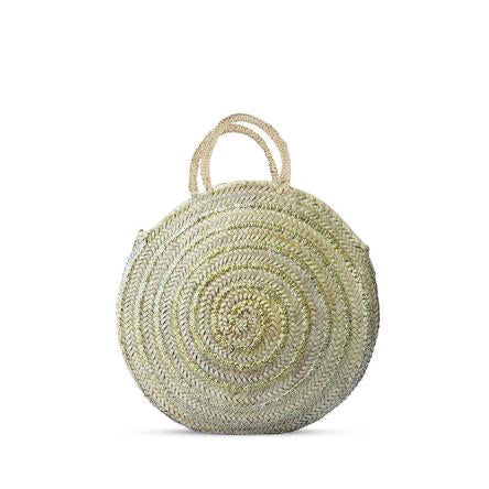 Round Sequined Straw Bag