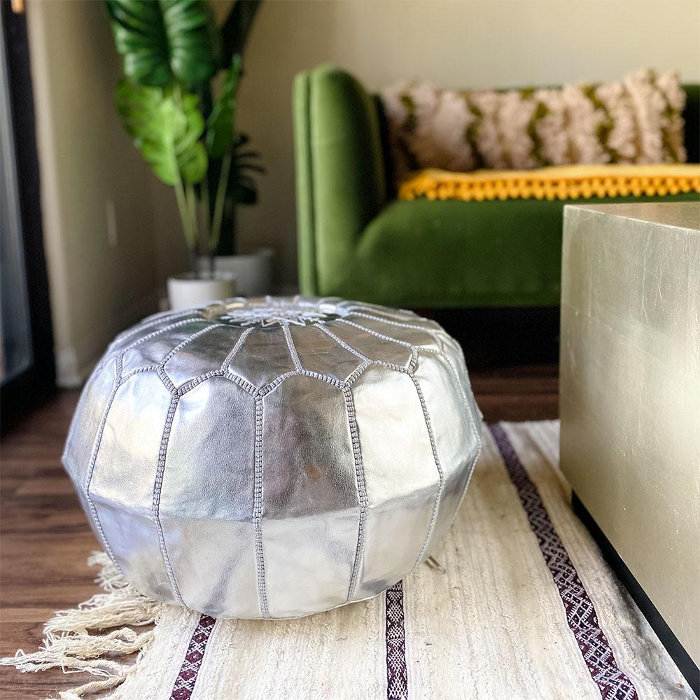 Unstuffed Moroccan Ottoman Pouf - Faux Leather Silver