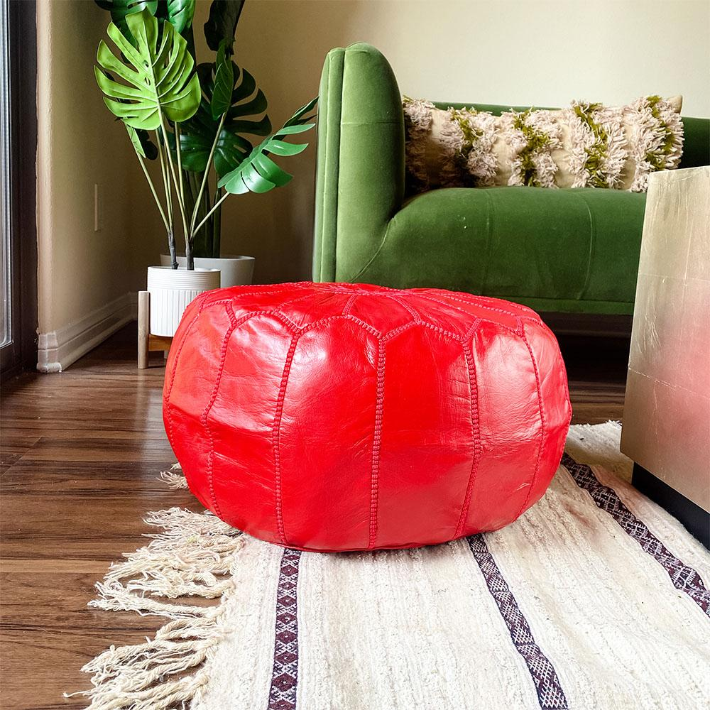 Unstuffed Moroccan Ottoman Pouf - Red