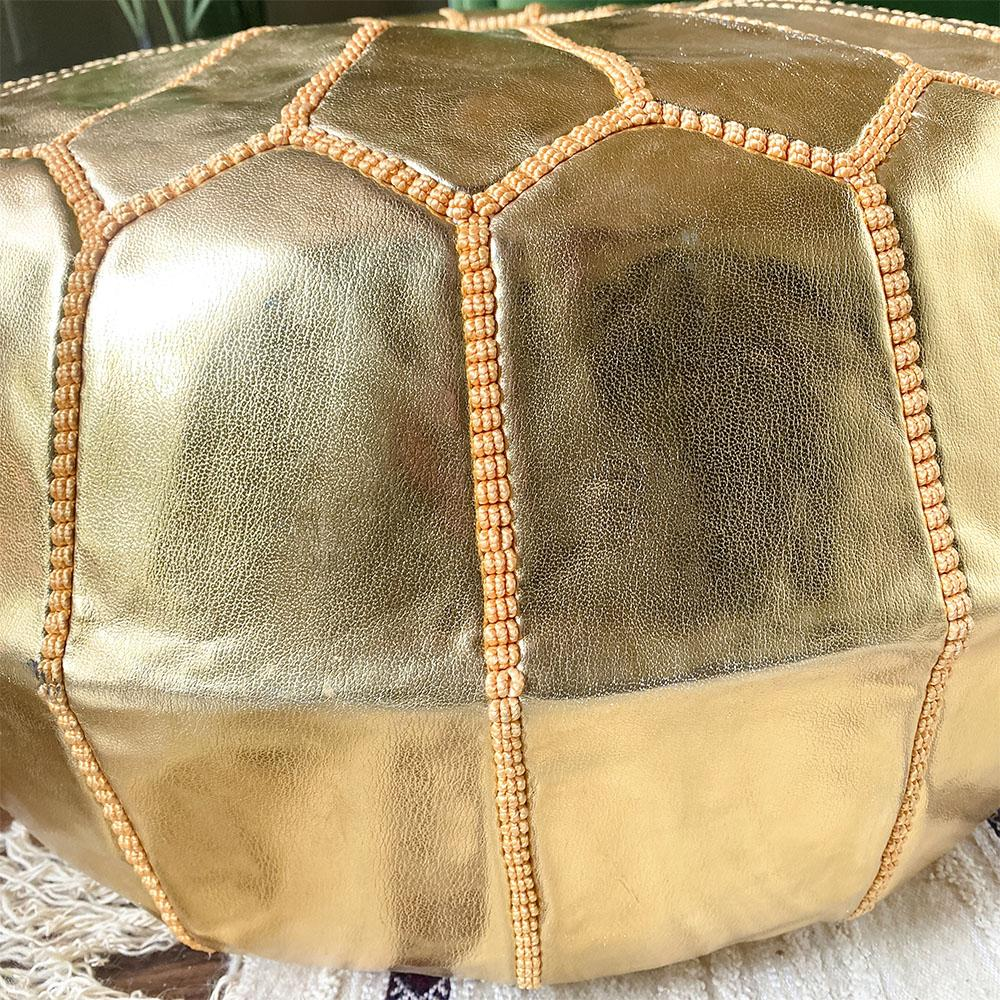 Unstuffed Moroccan Ottoman Pouf - Faux Leather - Gold