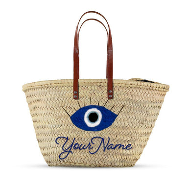 Large Customized Evil eyes Basket with leather - marrakechshopdesign