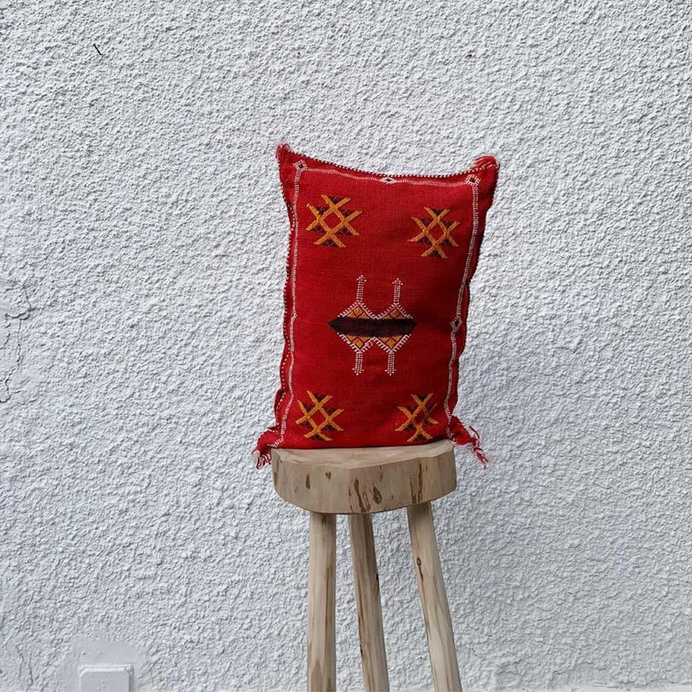 Moroccan Silk Pillow - Red