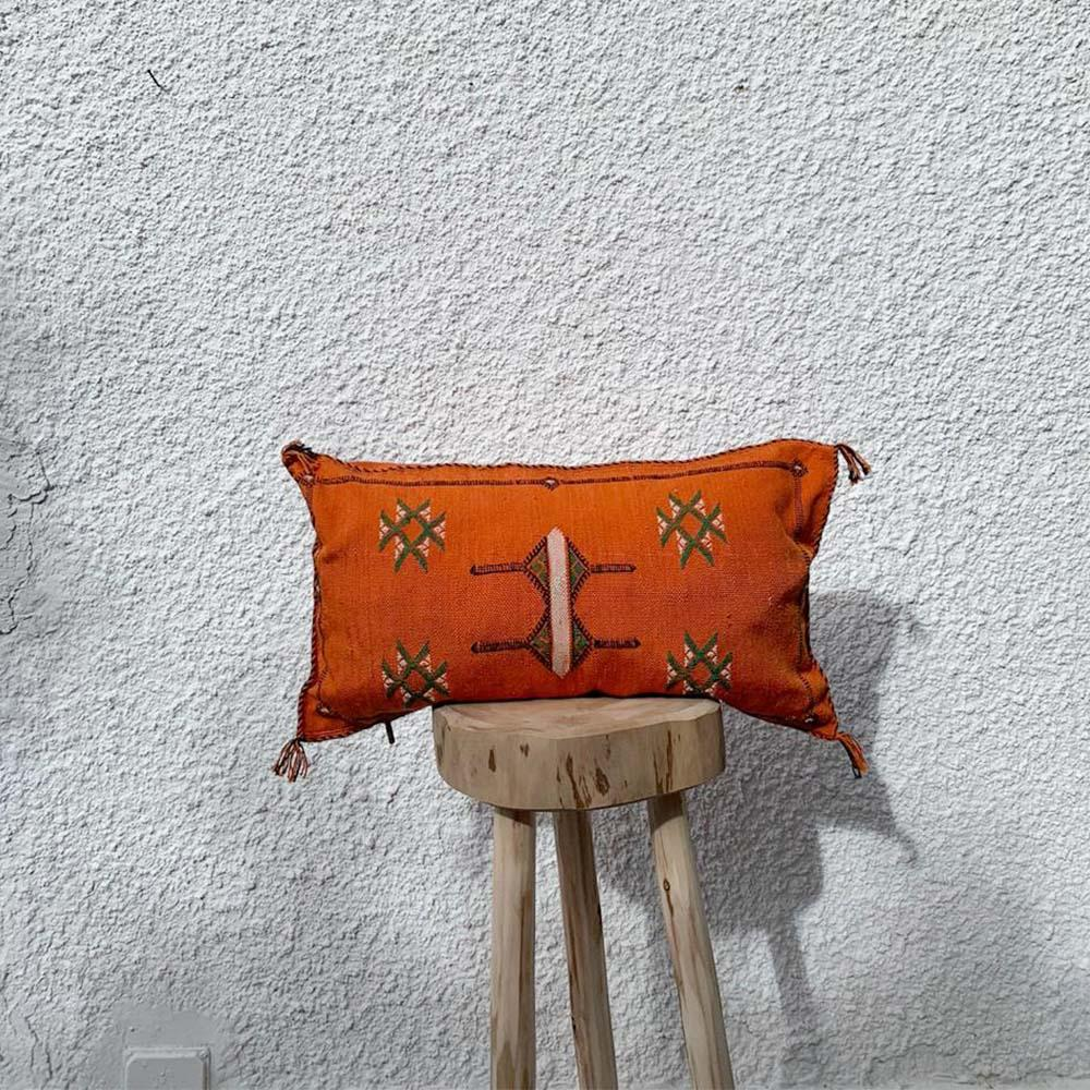 Moroccan Silk Pillow - Orange