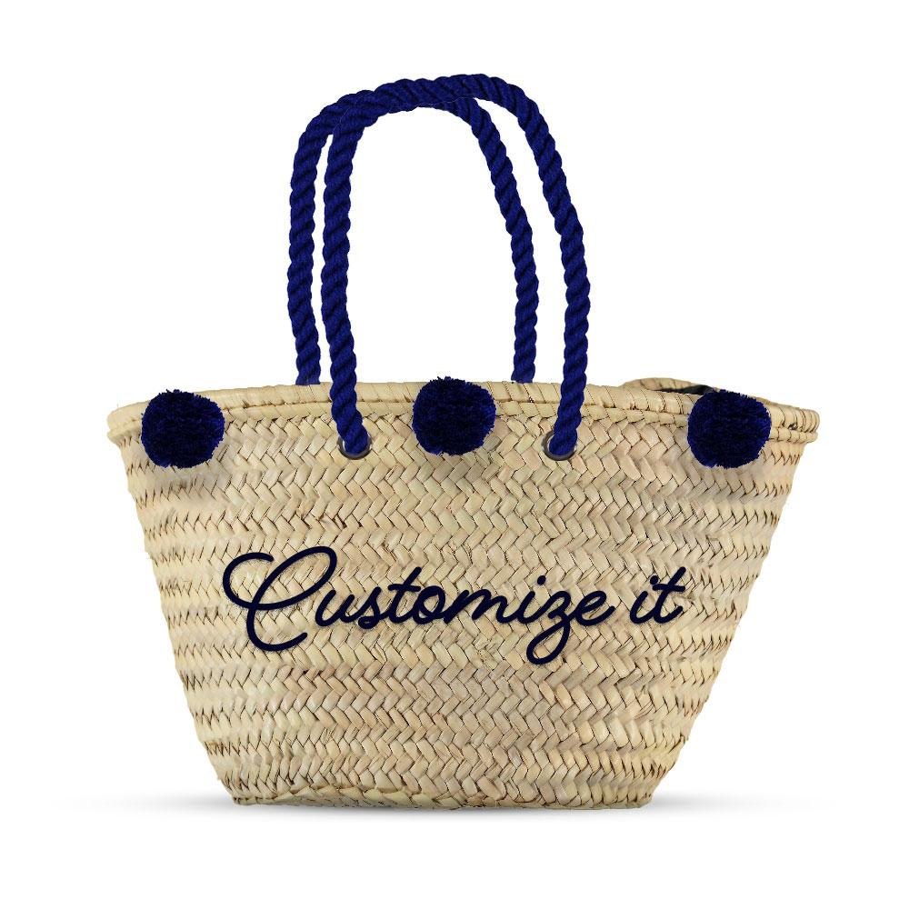 Monogrammed straw bag with Pompoms