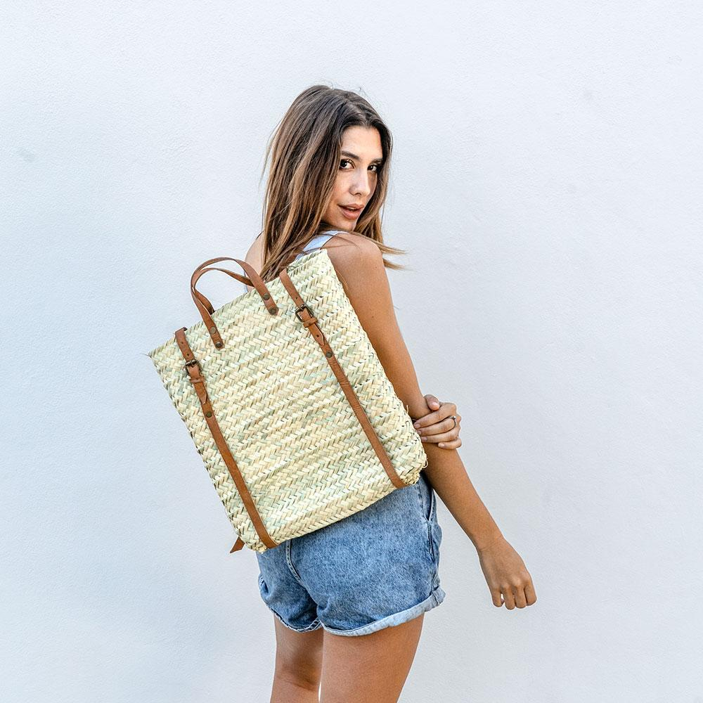 Straw Backpack with Long Leather Straps