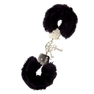 Furry Metal Handcuffs Black - Kitty Say So