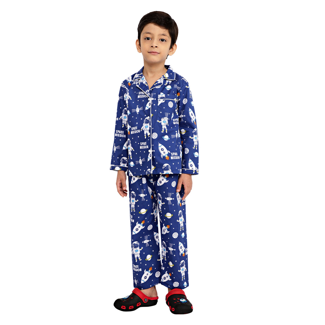 Space Theme Blue Boys Nightsuit