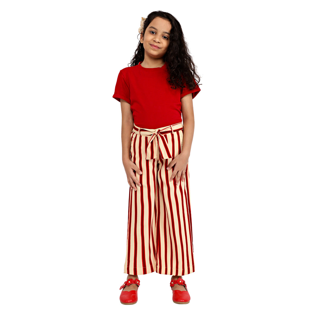 Red Striped Palazzo and T-Shirt Set