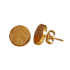 By.Ortiz, 18k-Gold-Plated The-World-Earrings, World-Map-Earrings