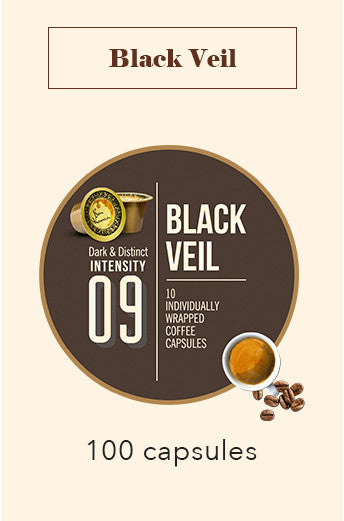 100 BONHOMIA BLACK VEIL COFFEE CAPSULES | INTENSITY 9