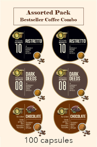 BONHOMIA ASSORTED PACK OF 100 CAPSULES | DARK DEEDS + RISTRETTO + CHOCOLATE