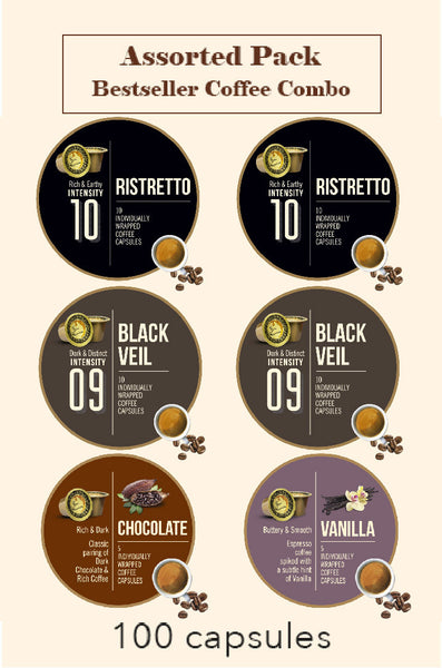BONHOMIA ASSORTED PACK OF 100 CAPSULES | BLACK VEIL + RISTRETTO + VANILLA + CHOCOLATE