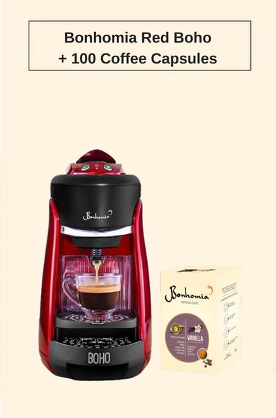 Bonhomia Boho Single Serve Capsule Coffee Maker Passion Red + 100 Bonhomia Coffee capsules