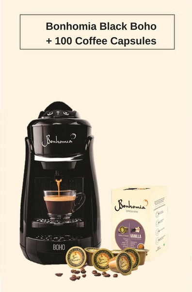 Bonhomia Black Boho Single Serve Espresso Coffee Brewer + 100 Bonhomia Coffee Capsules