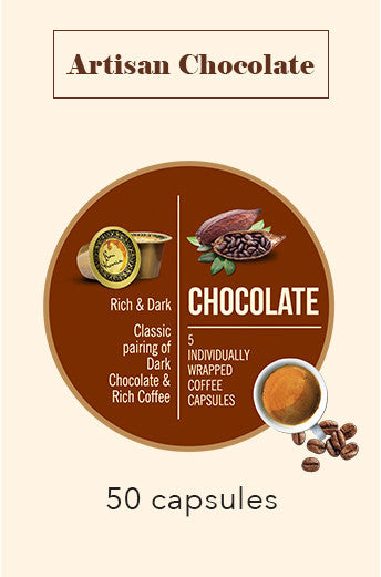 50 BONHOMIA ARTISAN CHOCOLATE FLAVOURED COFFEE CAPSULES