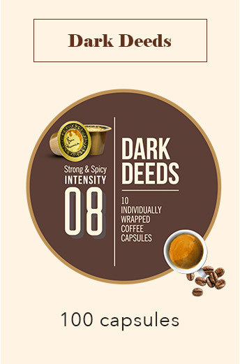 100 BONHOMIA DARK DEEDS COFFEE CAPSULES | INTENSITY 8
