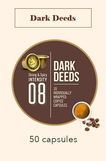 50 BONHOMIA DARK DEEDS COFFEE CAPSULES | INTENSITY 8
