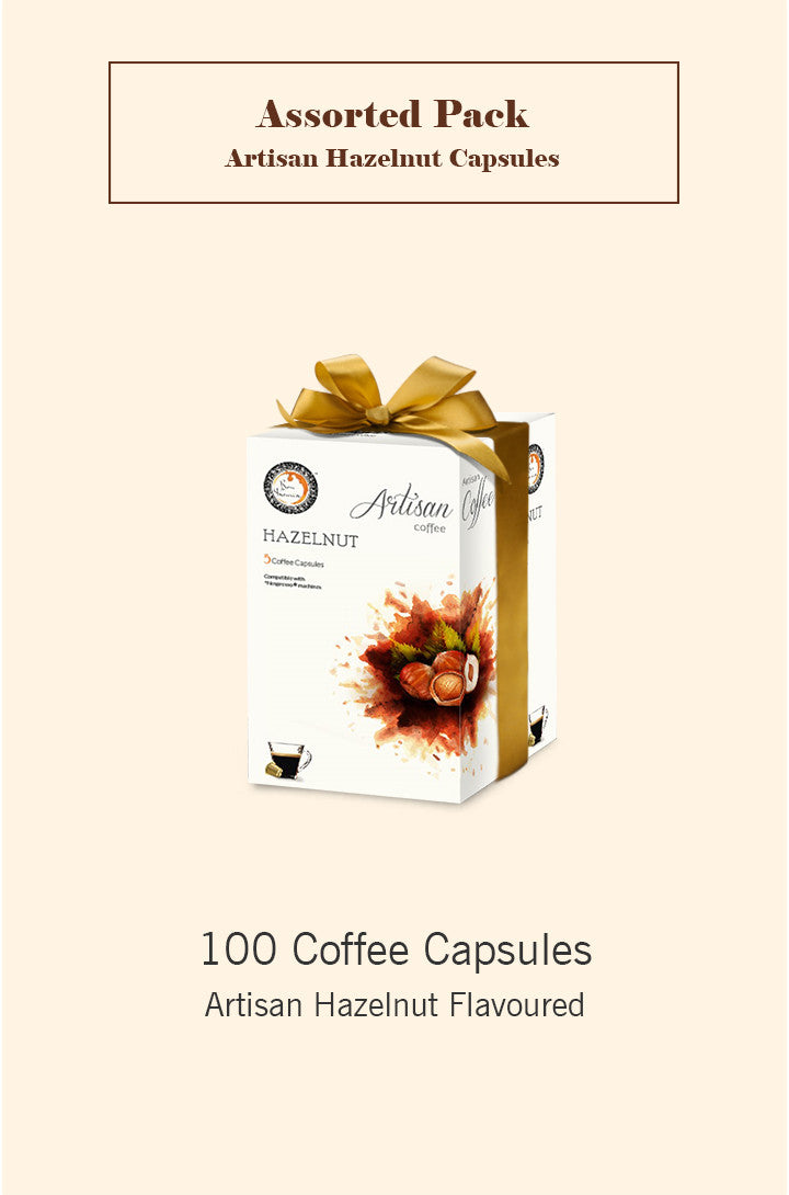 Bonhomia Artisan Hazelnut 100 Assorted Flavoured Coffee Capsules (Pack of 5)