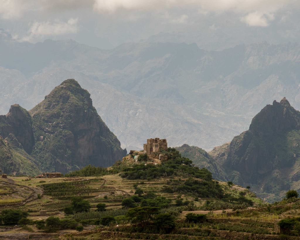 The mountains of Yemen where coffee is grown