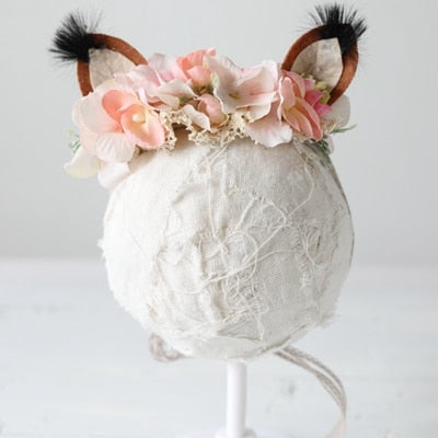 Maria Fox Ears NewBorn Props Headband Flower