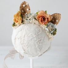 Load image into Gallery viewer, Maria Fox Ears NewBorn Props Headband Flower