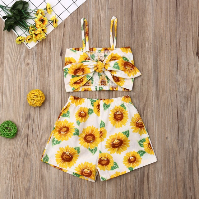 Briella Sunflower Print Strap Crop Tops Short Pants 2Pcs Outfit