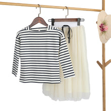 Load image into Gallery viewer, Journee Striped T Shirt + Long Skirt 2 Piece Set