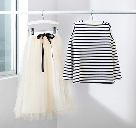 Journee Striped T Shirt + Long Skirt 2 Piece Set