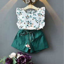 Load image into Gallery viewer, Elizabeth O-neck Flower sleeveless high waist green Tops + Shorts Outfit