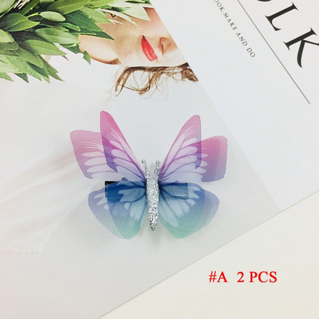 Natalia 2PCS/Set Girl Mini Barrettes Colorful Butterfly
