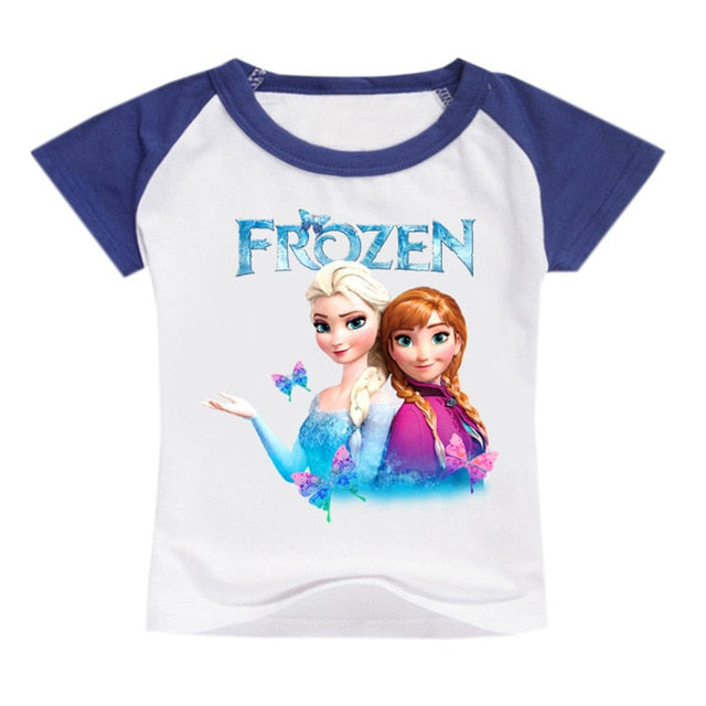 Frozen Anna Elsa Print Short Sleeve T Shirt
