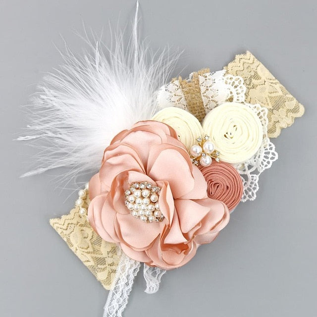 Everleigh Vintage Flower/Feather Headband