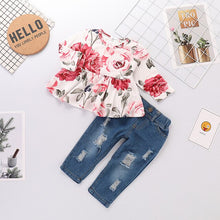 Load image into Gallery viewer, Rose Short-sleeve Top and Jeans Set