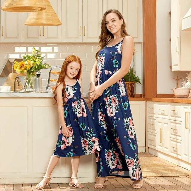 Juliet Summer Dark Blue Printed Matching Mommy and Me Dresses