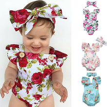 Load image into Gallery viewer, Jasmine 2pcs Baby Girls Clothes Romper + Headband