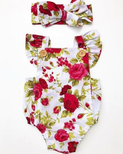 Jasmine 2pcs Baby Girls Clothes Romper + Headband