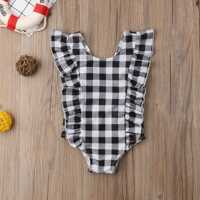 Iris Ruffle Plaid Swimsuit