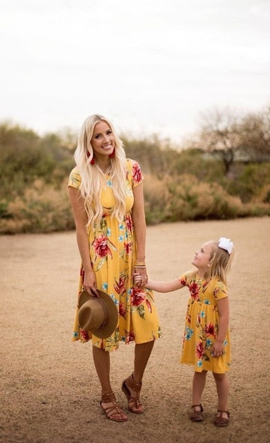 Aspen Mom-Daughter matching Floral Dress