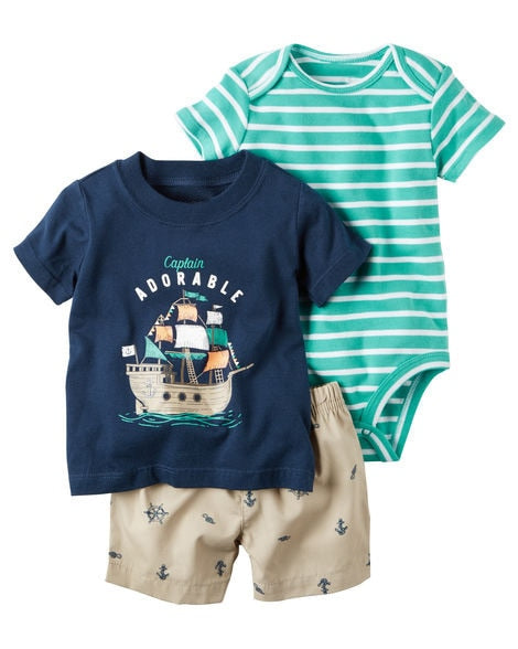 Donovan Summer 3PCS Set T-shirt+Bodysuit+Shorts