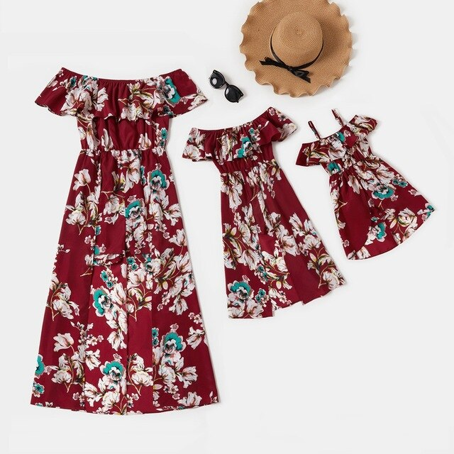 Fiona Mommy and Me Floral Print Flounce Off-shoulder Dresses