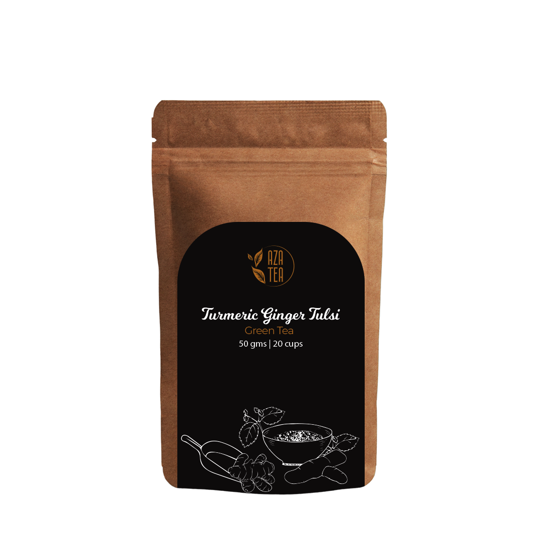 Turmeric Ginger Tulsi 50gm pouch front